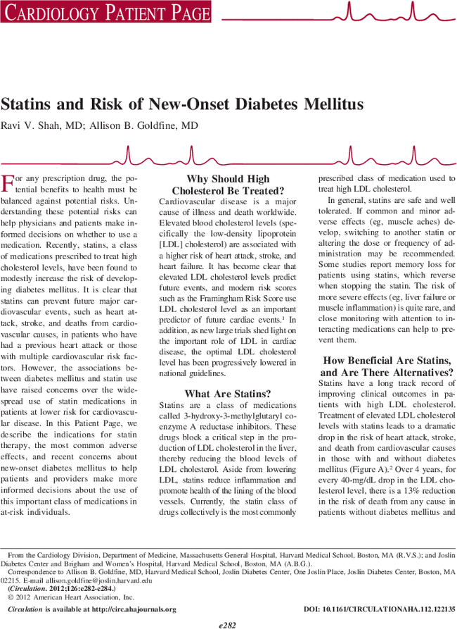 Statins And Risk Of New Onset Diabetes Mellitus Circulation