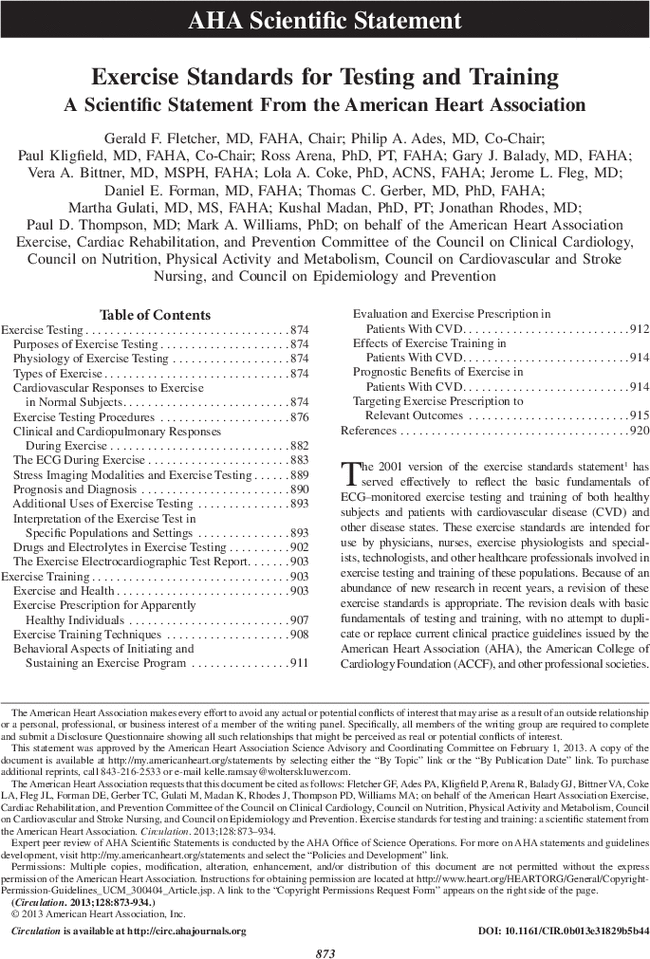 Exercise Standards For Testing And Training Circulation