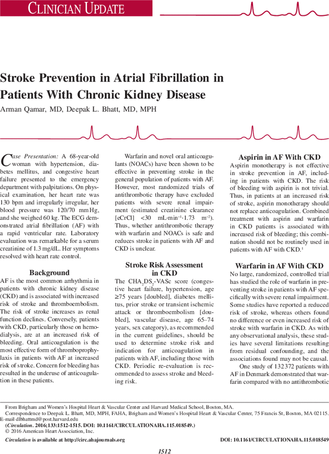 Stroke Prevention In Atrial Fibrillation In Patients With Chronic Kidney Disease Circulation