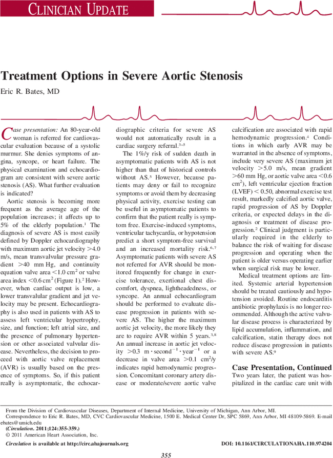Treatment Options in Severe Aortic Stenosis | Circulation