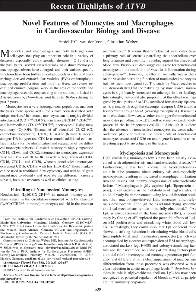 Novel Features of Monocytes and Macrophages in
