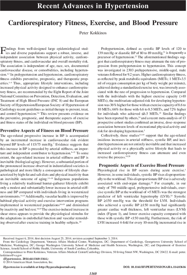 Cardiorespiratory Fitness Exercise And Blood Pressure Hypertension