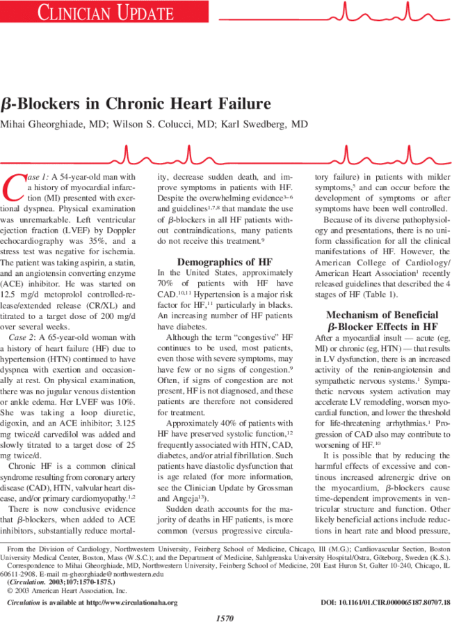 β-Blockers in Chronic Heart Failure | Circulation
