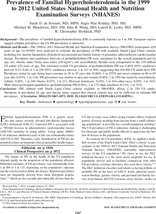 Prevalence of Familial Hypercholesterolemia in the 1999 to