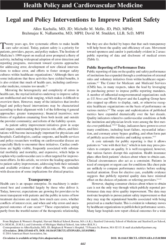 Legal and Policy Interventions to Improve Patient Safety