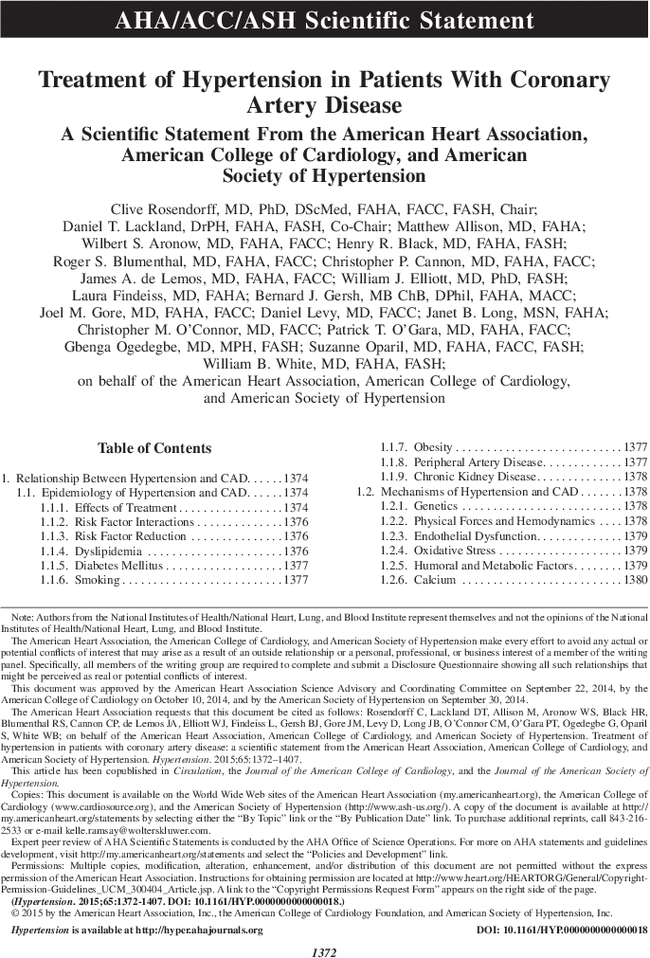 Treatment Of Hypertension In Patients With Coronary Artery Disease