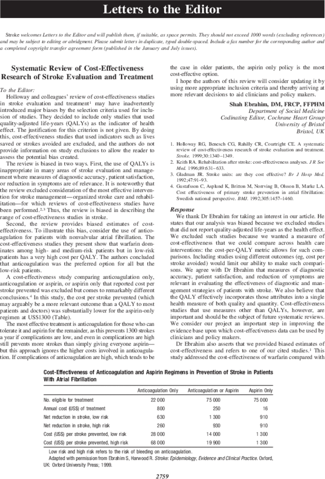Systematic Review Of Cost Effectiveness Research Of Stroke