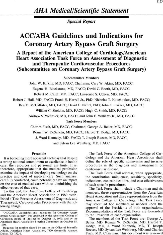 Accaha Guidelines And Indications For Coronary Artery Bypass Graft