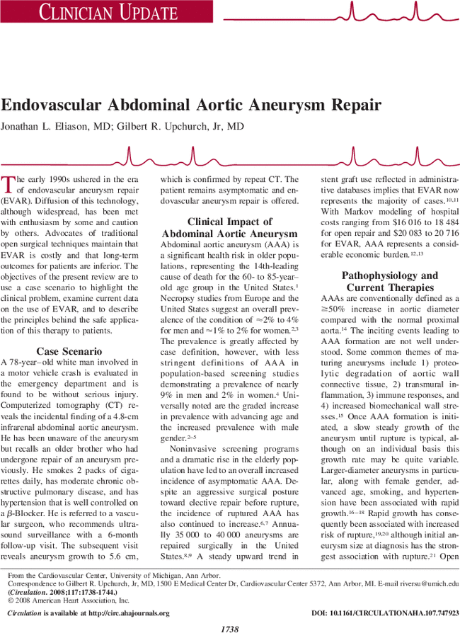 endovascular abdominal aortic aneurysm repair circulation rh ahajournals org