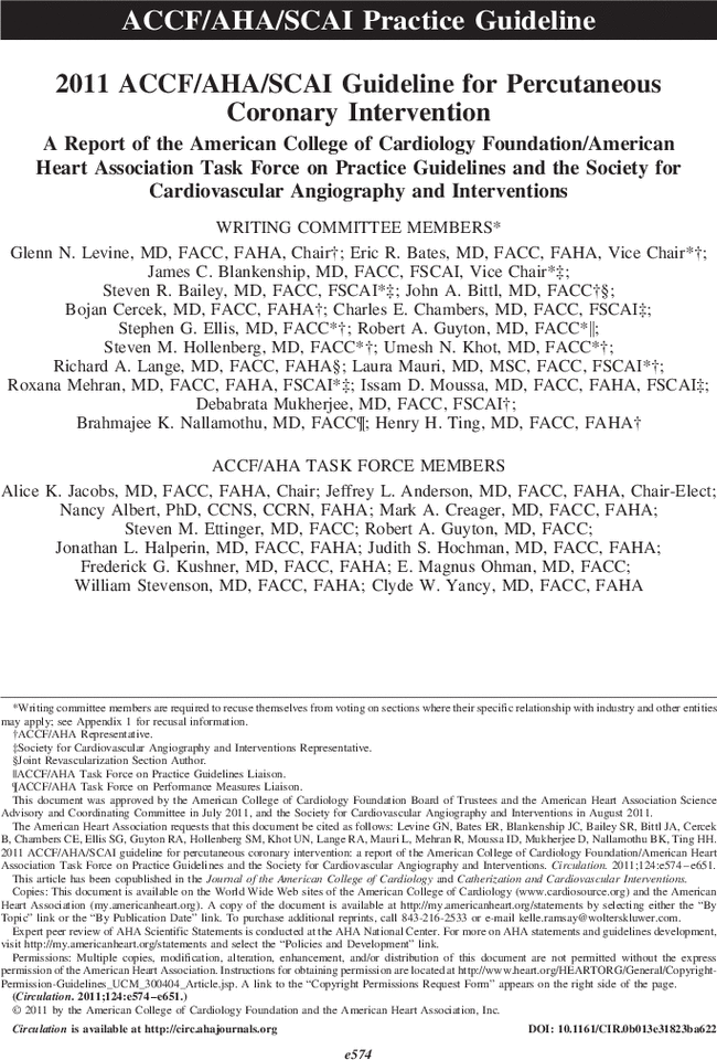 2011 ACCF/AHA/SCAI Guideline for Percutaneous Coronary