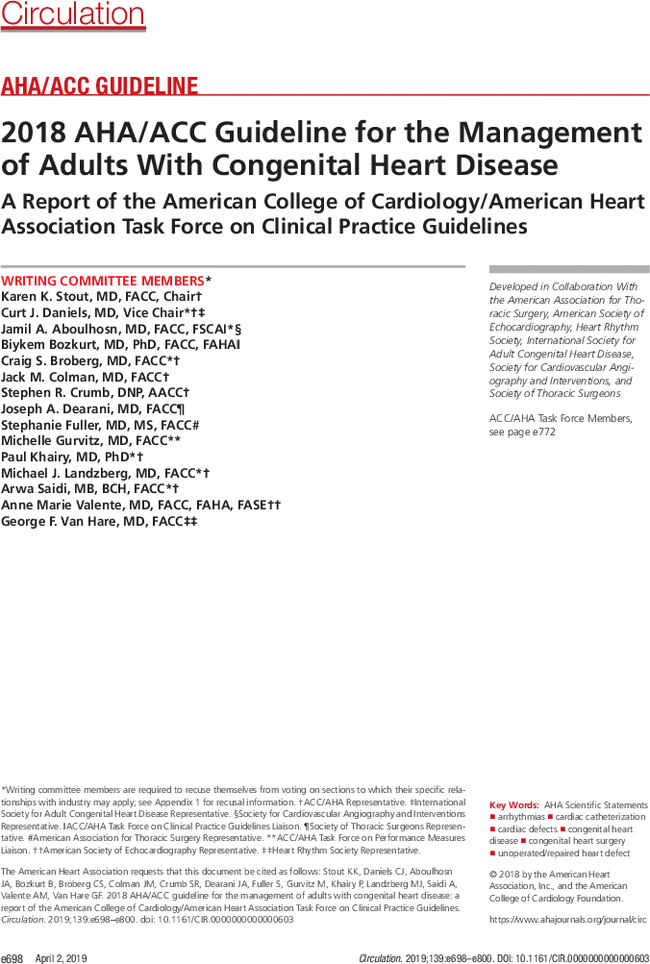 2018 AHA/ACC Guideline for the Management of Adults With