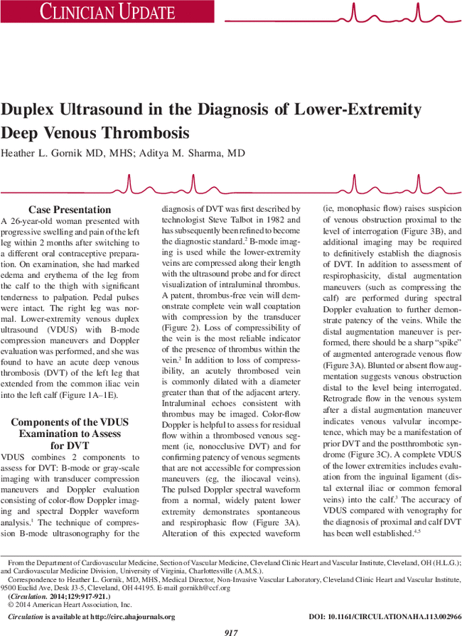 Duplex Ultrasound in the Diagnosis of Lower-Extremity Deep Venous ...