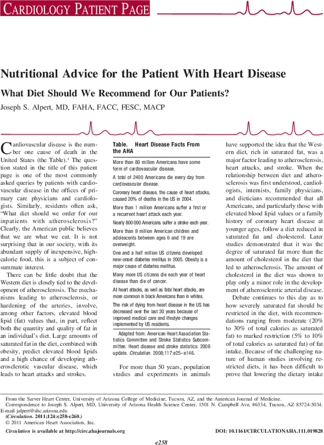 Nutritional Advice for the Patient With Heart Disease
