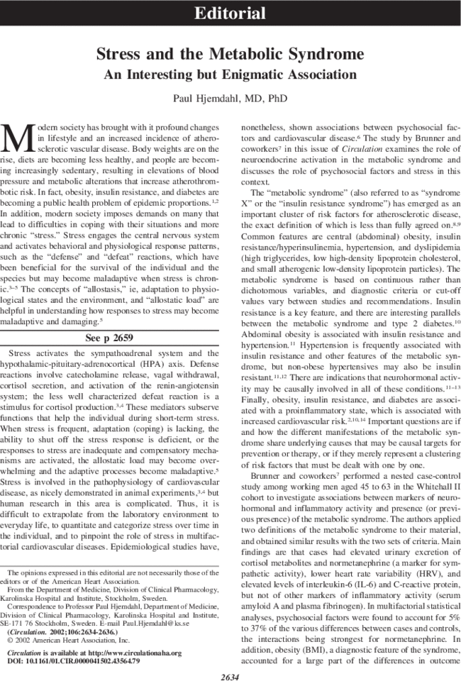 The Metabolic Syndrome: Pharmacology and Clinical Aspects
