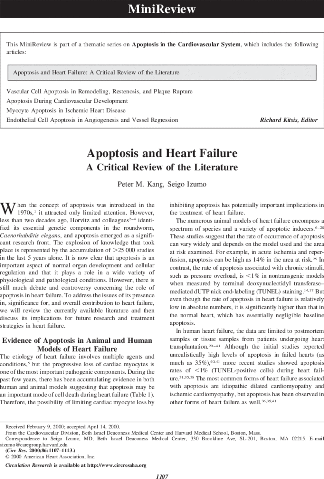 Apoptosis And Heart Failure Circulation Research