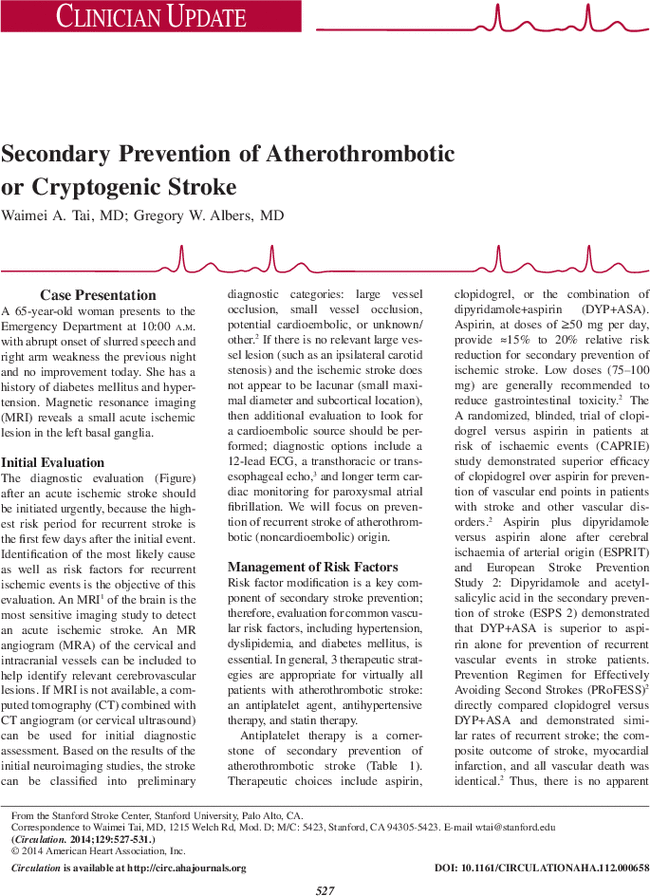 Secondary Prevention of Atherothrombotic or Cryptogenic