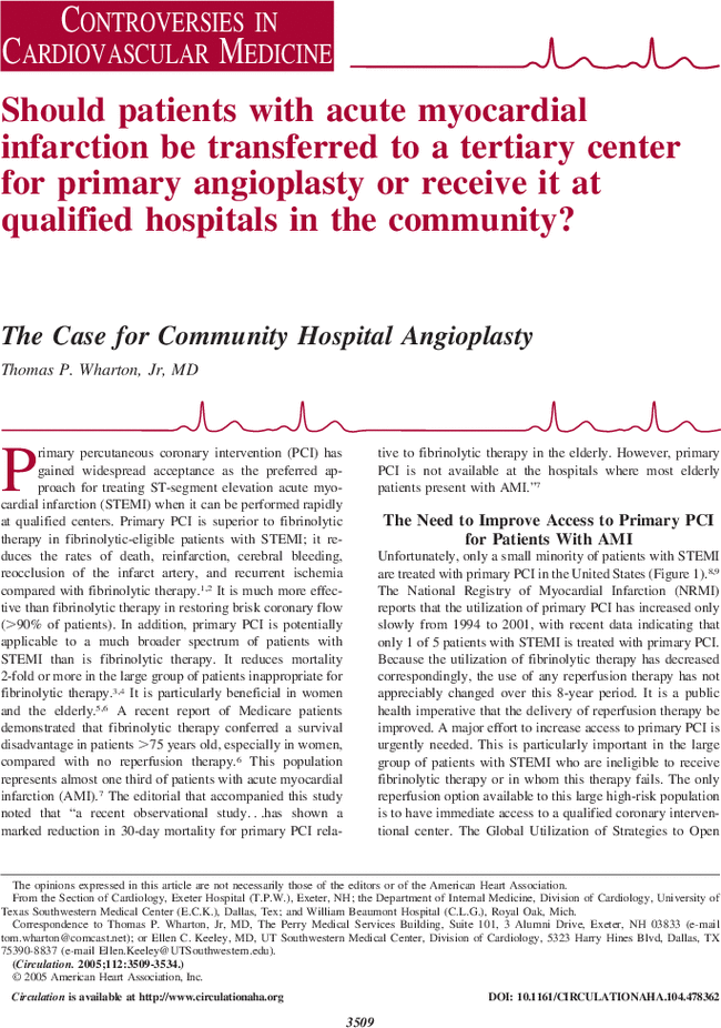 The Case For Community Hospital Angioplasty Circulation