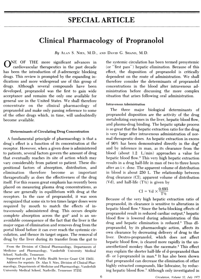 Clinical pharmacology of propranolol  | Circulation