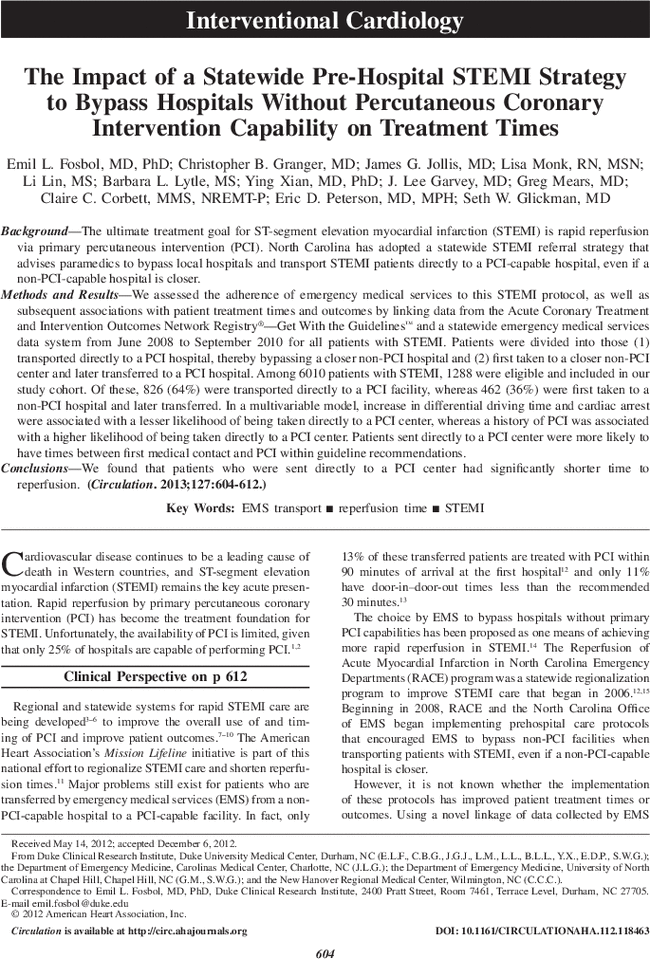 The Impact of a Statewide Pre-Hospital STEMI Strategy to
