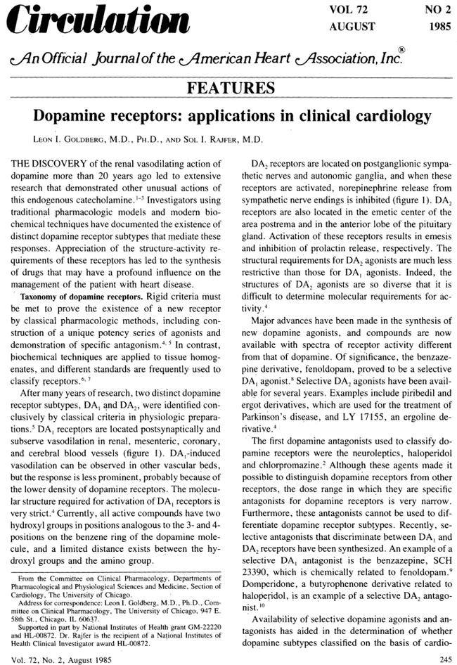 Dopamine receptors: applications in clinical cardiology