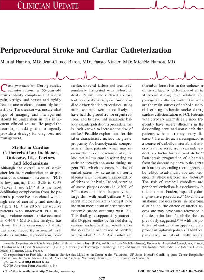 Periprocedural Stroke And Cardiac Catheterization Circulation