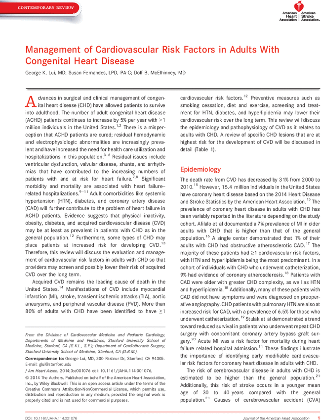 Management of Cardiovascular Risk Factors in Adults With