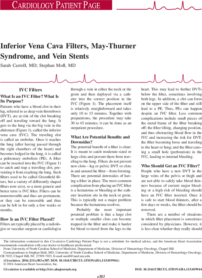 Inferior Vena Cava Filters May Thurner Syndrome And Vein Stents