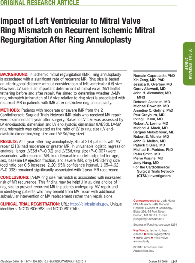 Impact of Left Ventricular to Mitral Valve Ring Mismatch on