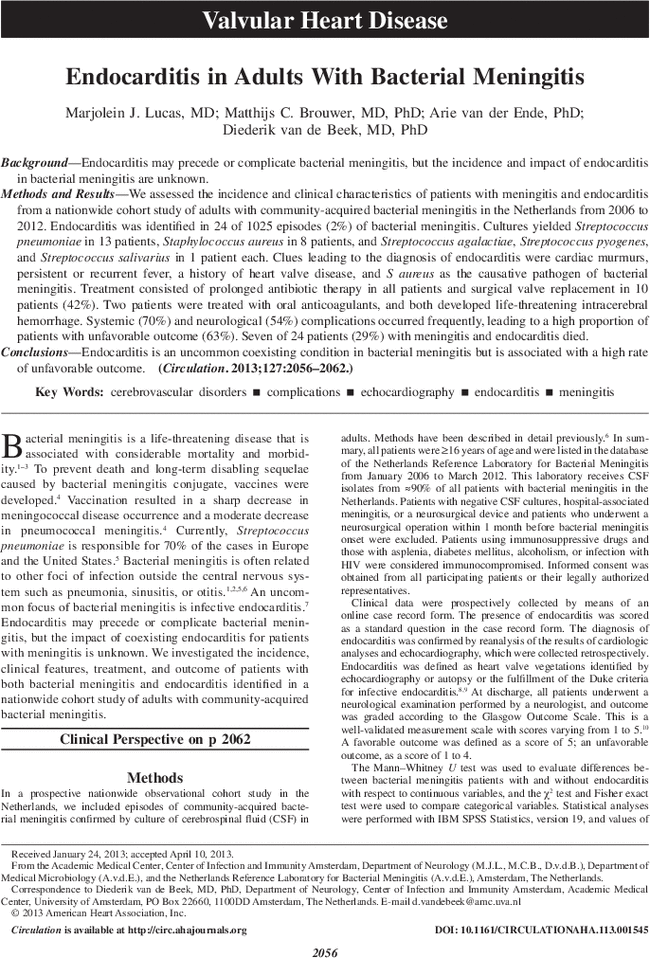 Endocarditis in Adults With Bacterial Meningitis | Circulation