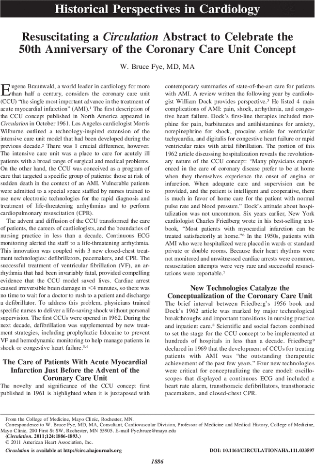 Resuscitating a Circulation Abstract to Celebrate the 50th