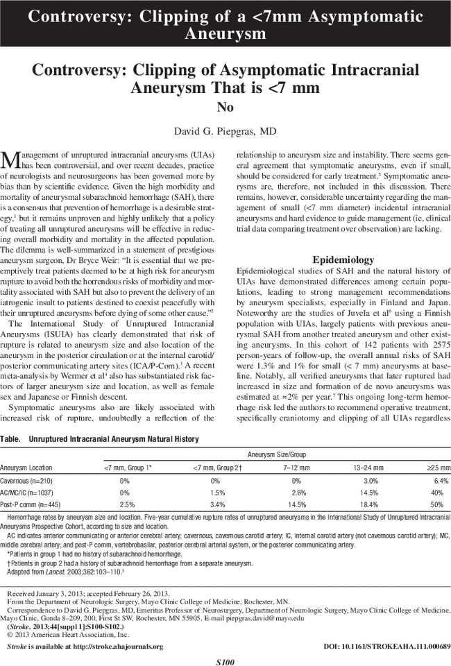 Controversy Clipping Of Asymptomatic Intracranial Aneurysm That Is