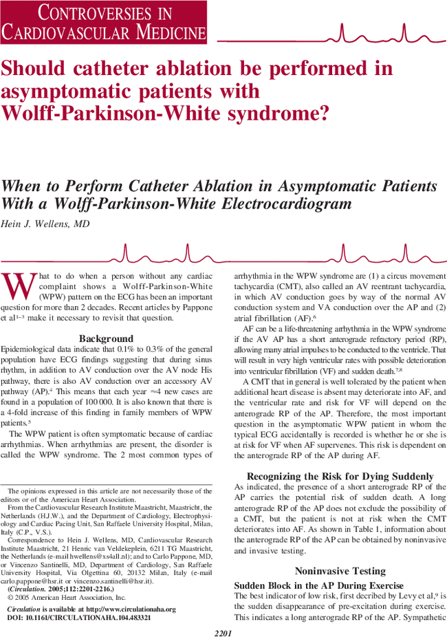 When to Perform Catheter Ablation in Asymptomatic Patients
