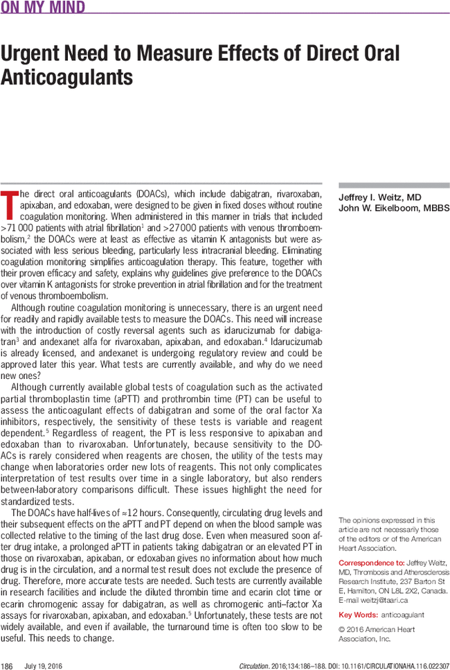 Urgent Need To Measure Effects Of Direct Oral Anticoagulants