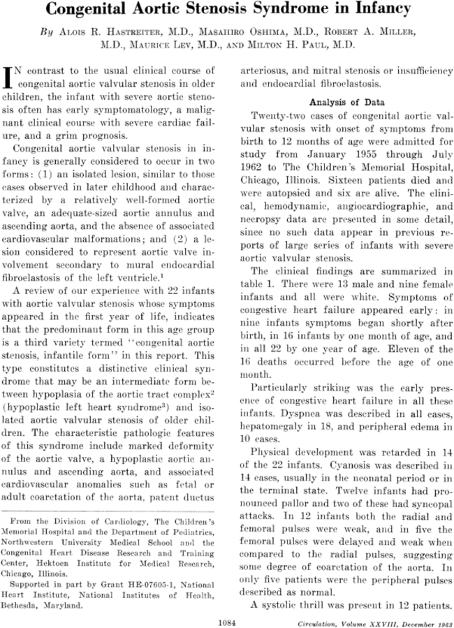 Congenital Aortic Stenosis Syndrome in Infancy | Circulation