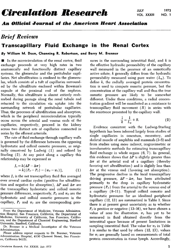 Transcapillary Fluid Exchange In The Renal Cortex Circulation Research