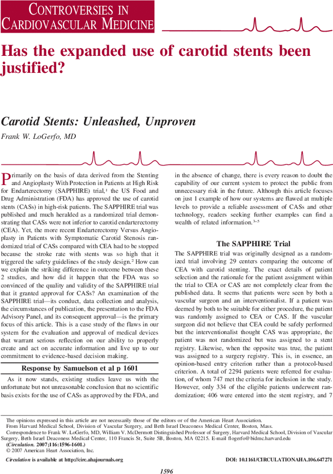 The Argument to Support Broader Application of Extracranial Carotid