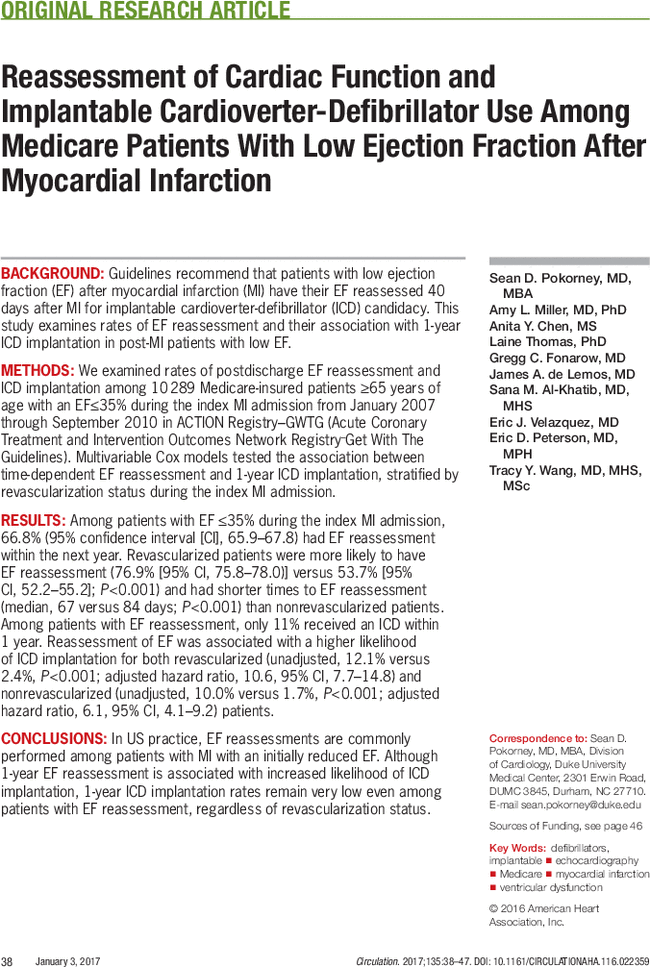 Reassessment of Cardiac Function and Implantable Cardioverter