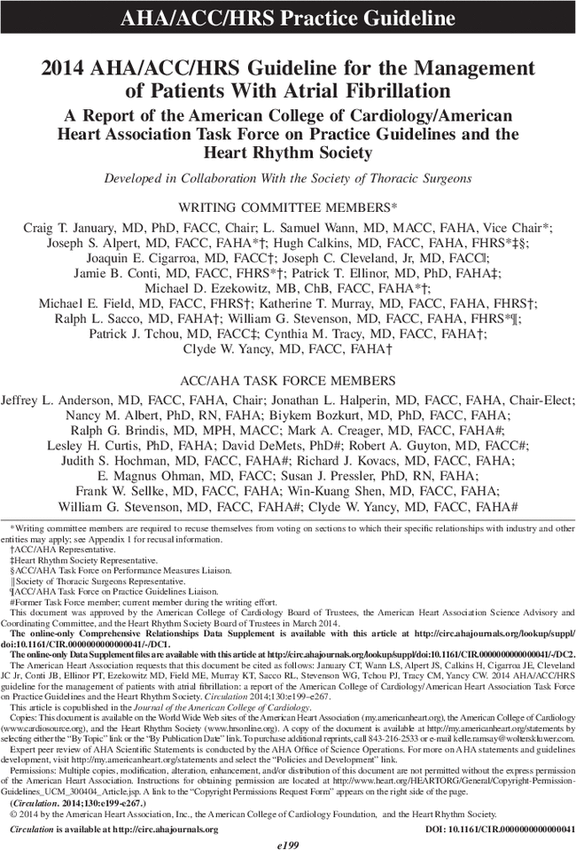 2014 AHA/ACC/HRS Guideline for the Management of Patients
