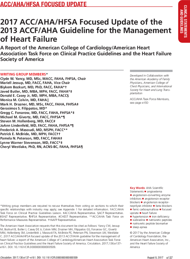 2017 ACC/AHA/HFSA Focused Update of the 2013 ACCF/AHA Guideline for