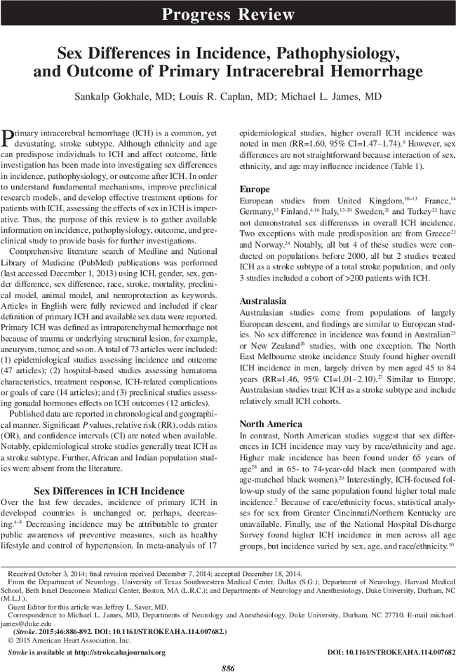 Sex Differences in Incidence, Pathophysiology, and Outcome