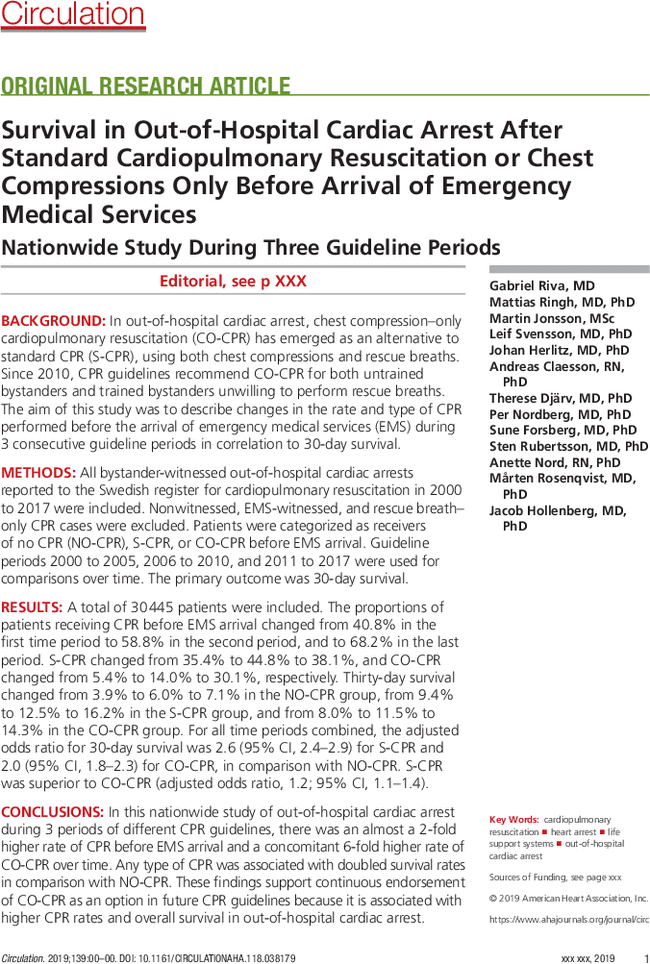 Survival in Out-of-Hospital Cardiac Arrest After Standard