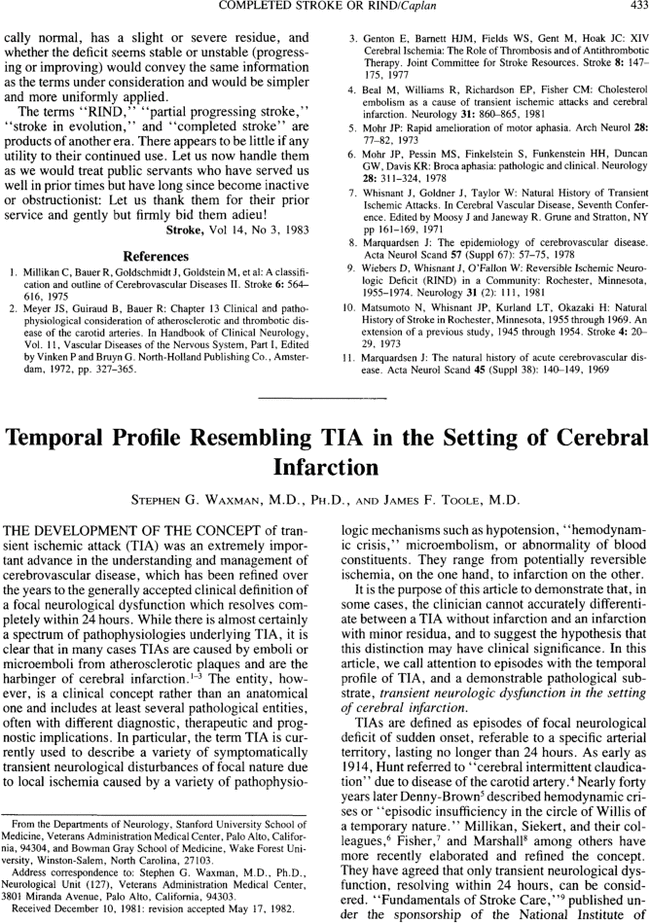 Temporal profile resembling TIA in the setting of cerebral