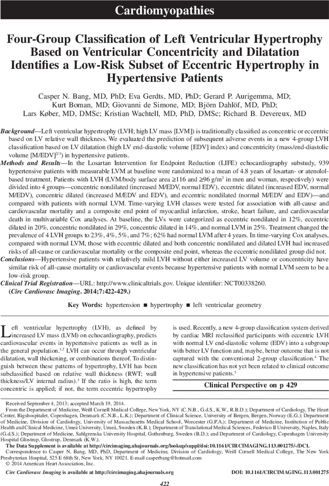 Four-Group Classification of Left Ventricular Hypertrophy
