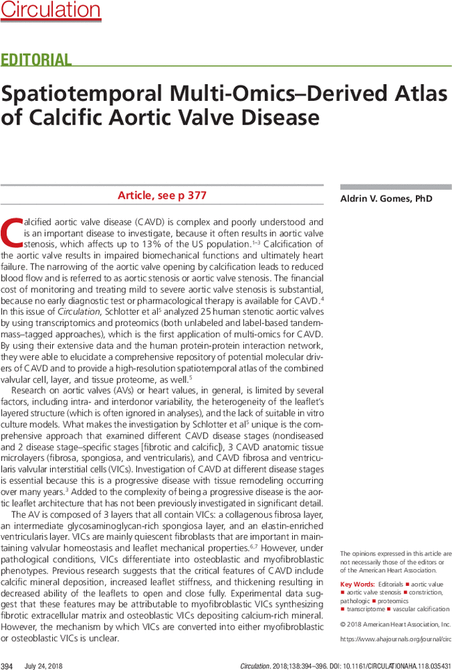 Spatiotemporal Multi-Omics–Derived Atlas of Calcific Aortic