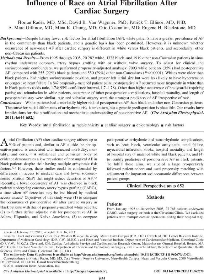 Influence of Race on Atrial Fibrillation After Cardiac