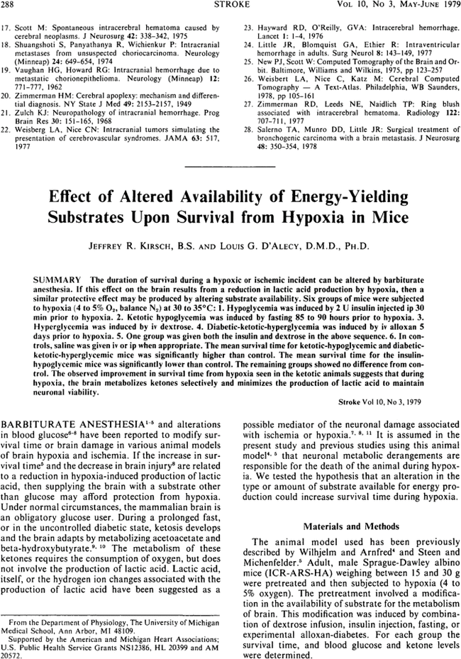 Effect of altered availability of energy-yielding substrates