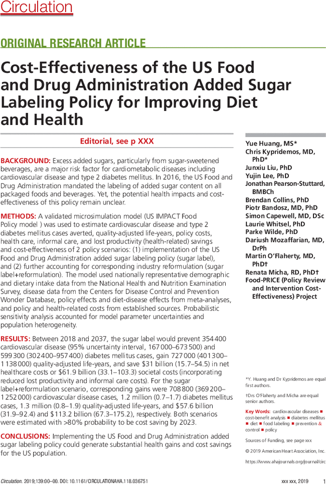 ahajournals.org - Cost-Effectiveness of the US Food and Drug Administration Added Sugar Labeling Policy for Improving Diet and Health | Circulation