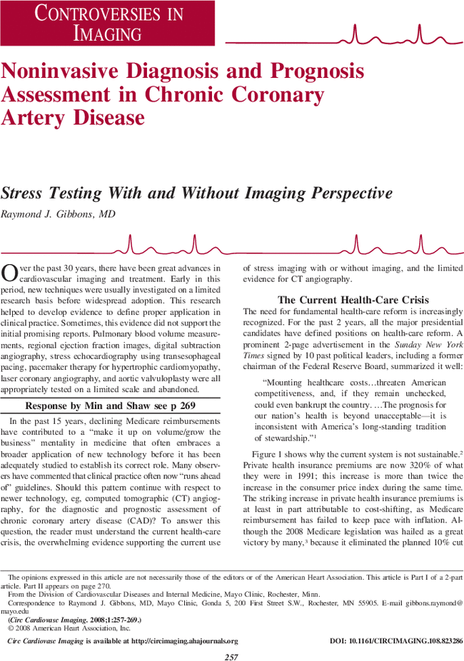 Noninvasive Diagnosis And Prognosis Assessment In Chronic Coronary