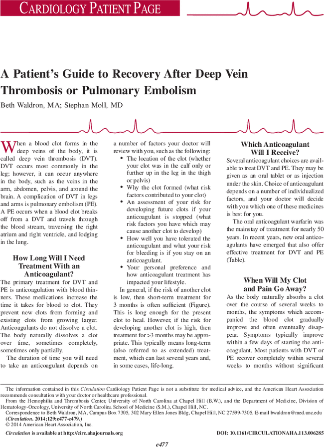 A Patients Guide To Recovery After Deep Vein Thrombosis Or