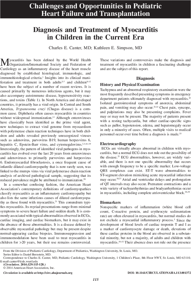 Diagnosis And Treatment Of Myocarditis In Children In The Current